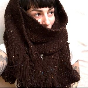 Vintage hand knit over sized scarf